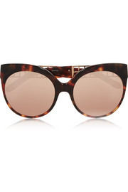 Cat-eye rose gold-plated acetate mirrored sunglasses