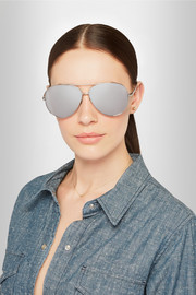 Aviator-style white gold-plated mirrored sunglasses
