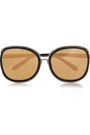 Linda Farrow Square-frame acetate and metal mirrored sunglasses