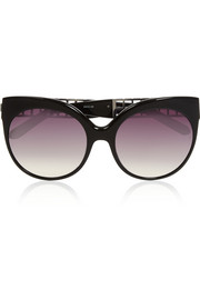 Cat-eye white gold-plated acetate sunglasses