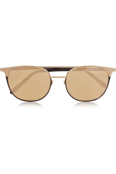 Linda Farrow Round-frame gold-plated mirrored sunglasses ...