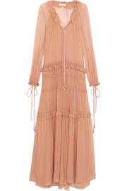 Plissé silk-chiffon maxi dress