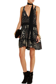 Plissé printed silk-georgette mini dress