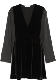 Chloé Velvet and chiffon mini dress