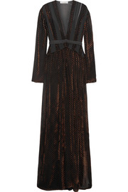 Devoré-velvet and silk-georgette maxi dress