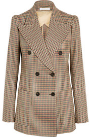 Houndstooth double-breasted stretch-wool blazer