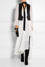 Wool-twill and silk crepe de chine vest