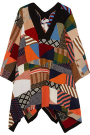 Patchwork wool and silk-blend poncho