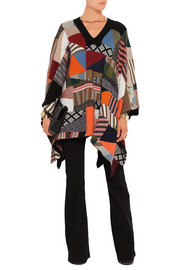 Chloé Patchwork wool and silk-blend poncho