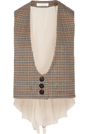 Chloé Houndstooth stretch-wool and silk crepe de chine vest