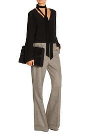 Houndstooth stretch-wool flared pants