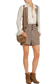 High-rise houndstooth wool-blend tweed shorts