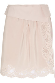 Lace-trimmed silk crepe de chine mini skirt