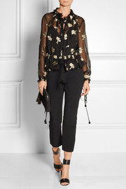 Chloé Embroidered silk-chiffon top