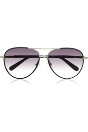 Leather-trimmed aviator-style metal sunglasses