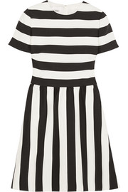 Striped wool and silk-blend crepe mini dress