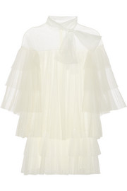 Tiered point d'esprit, lace and tulle mini dress