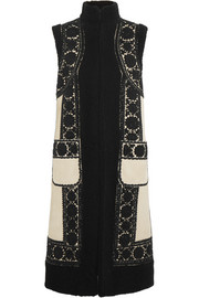 Valentino Beaded felt-appliquéd suede and shearling vest