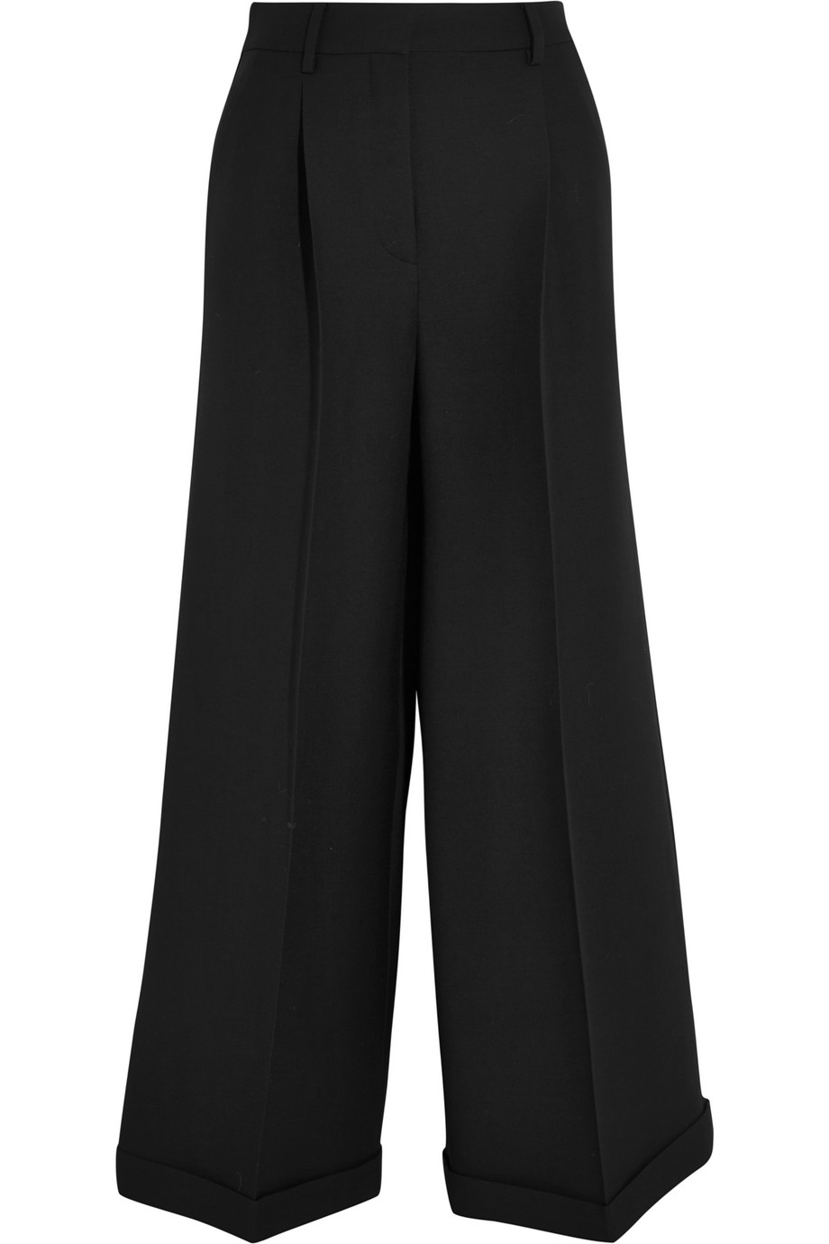 Valentino Wool and Silk-Blend Wide-Leg Cropped Pants, Black, Women's, Size: 40