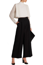 Wool and silk-blend wide-leg cropped pants