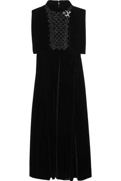 d2323b6cf6cb3 Valentino | Beaded tulle and velvet dress | NET-A-PORTER.COM