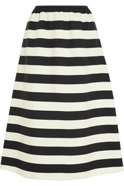 Striped wool and silk-blend midi skirt