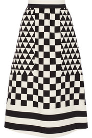 Geometric-print wool and silk-blend crepe skirt