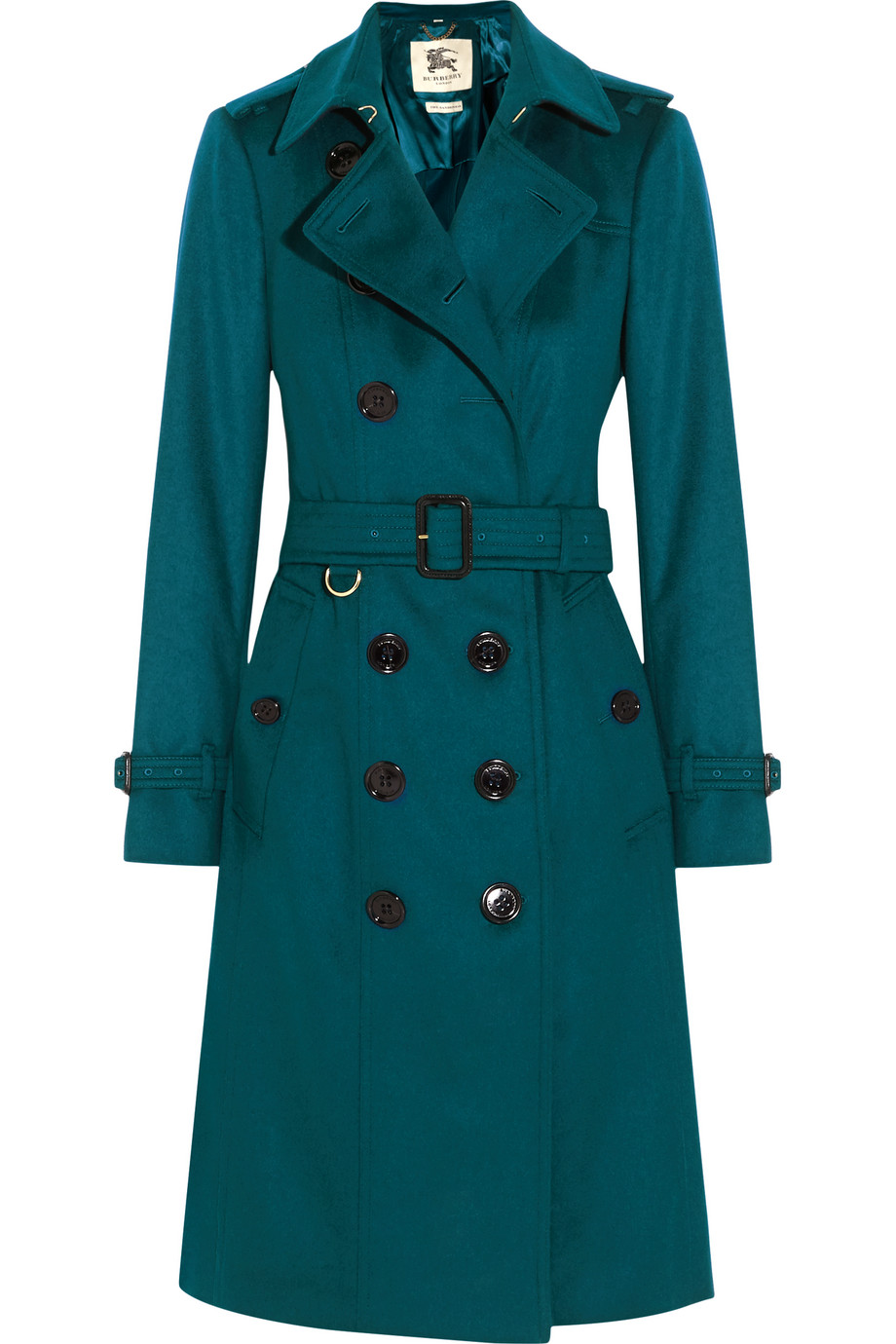 Burberry London Brushed-Cashmere Trench Coat, Teal, Women's, Size: 12