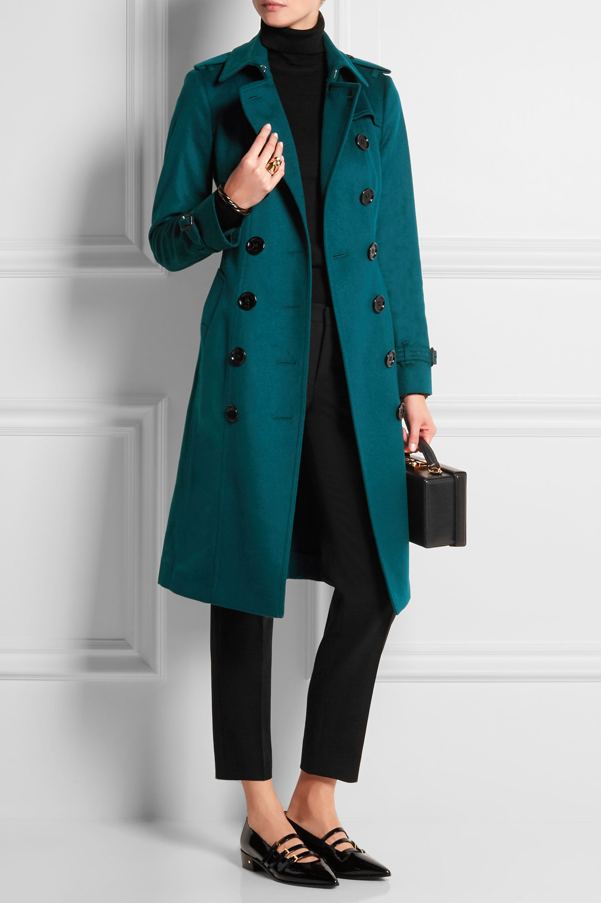 Burberry Brushed-cashmere trench coat