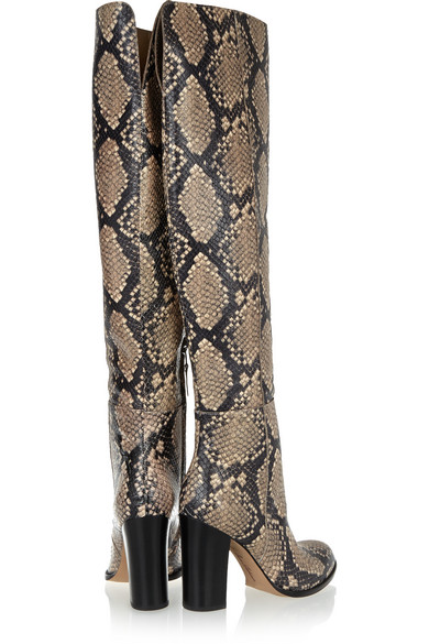 9738fb47d6bd Sam Edelman. Rylan snake-effect leather over-the-knee boots.  75. Zoom In