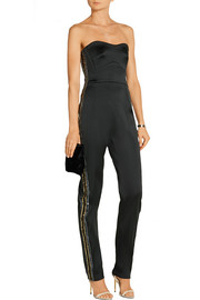Embellished stretch-satin jumpsuit