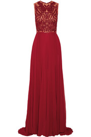Embellished tulle and silk-blend georgette gown