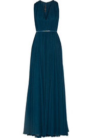 Pleated silk-chiffon gown