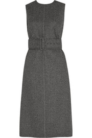 Belted herringbone wool-tweed dress