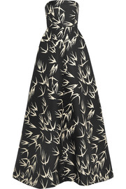 Strapless printed duchesse-satin gown