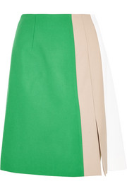 Marisa color-block wool-gabardine skirt