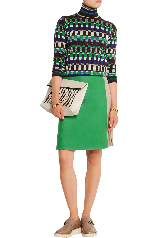 Jonathan Saunders Marisa color-block wool-gabardine skirt