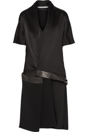 Asymmetric leather-trimmed satin-crepe top