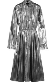 Loewe Pleated lamé and silk-blend dress