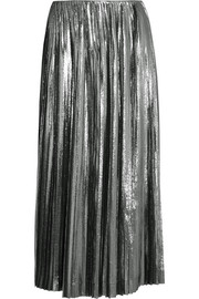 Loewe Pleated lamé and silk-blend midi skirt