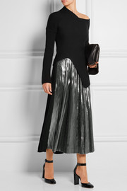 Pleated lamé and silk-blend midi skirt
