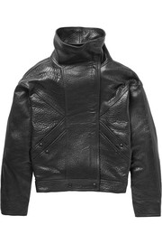 Oversized textured-leather bomber jacket