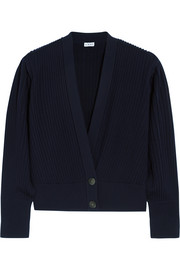 Pleated wool cardigan