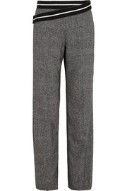Silk and wool-blend wide-leg pants