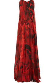 Strapless printed silk-chiffon gown