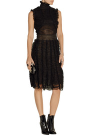 Ruffled silk-blend lace dress