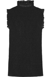 Alexander McQueen Ruffled crocheted cotton-blend turtleneck top