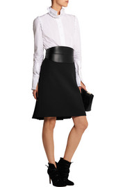 Pleated wool-twill skirt