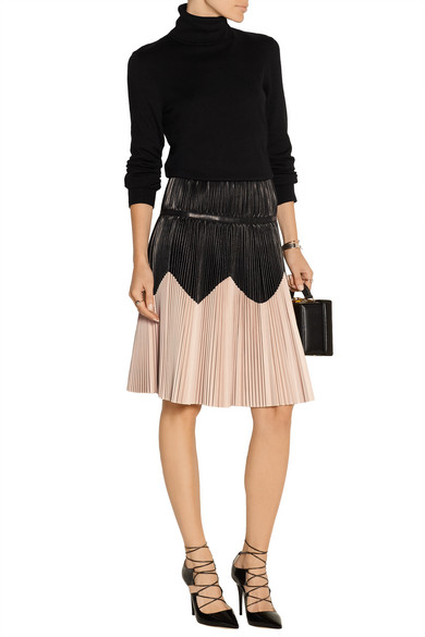 mcqueen pleated two tone leather skirt net a