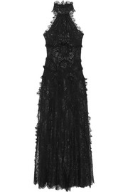 Halterneck metallic lace gown